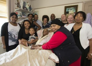 Minetta Webb surrounded by family and friends