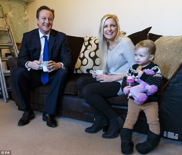 Prime Minister David Cameron, with Sharon and her daughter.