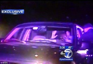 Here Marcus jeter's hands can clearly be seen up in the air - despite the officer claiming otherwise in an interview