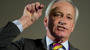 The deputy chairman of the UK Independence Party, Neil Hamilton, speaks at the party's annual conference in central London