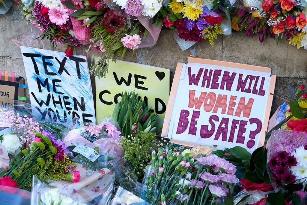 Flowers dedicated to Sarah Everard