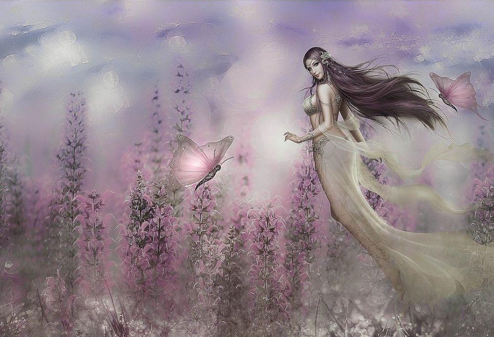 a woman wades through a fantasy landscape